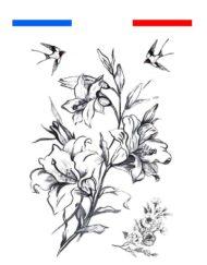 Fleurs & Hirondelles réaliste Tatouage Temporaire