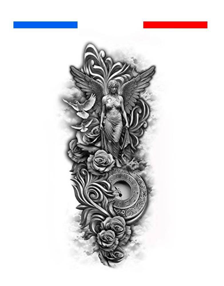 Tatouage Horloge Colombes Roses Ange Composition Mon Petit