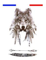 Tatouage Loup Indien Flèches Temporaire