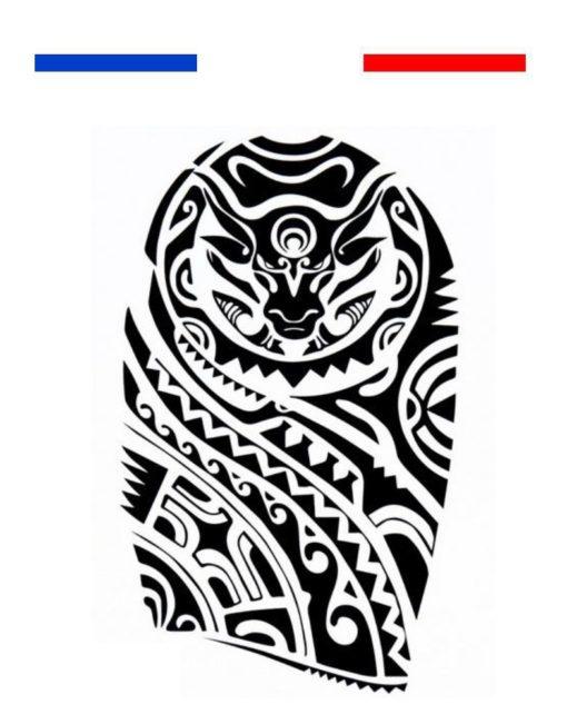 Tatouage Maori Taureau Tribal Bras Biceps Noir et blanc