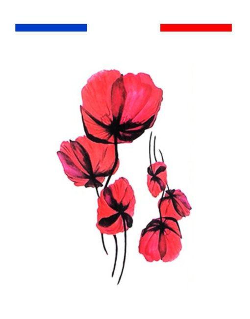 tatouage coquelicot rouge réaliste femme