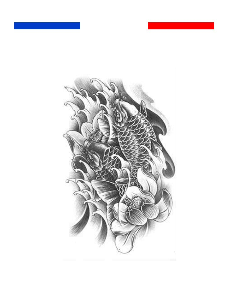 Tatouage Temporaire Carpe Koi Noir Et Blanc