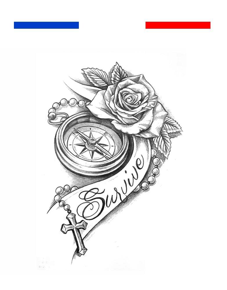 tatouage boussole rose r aliste survive mon petit. Black Bedroom Furniture Sets. Home Design Ideas